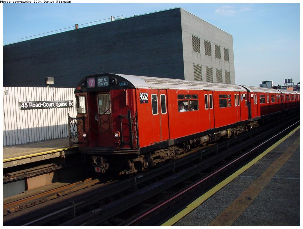 (114k, 1044x788)<br><b>Country:</b> United States<br><b>City:</b> New York<br><b>System:</b> New York City Transit<br><b>Line:</b> IRT Flushing Line<br><b>Location:</b> Court House Square/45th Road <br><b>Route:</b> 7<br><b>Car:</b> R-36 World's Fair (St. Louis, 1963-64) 9352 <br><b>Photo by:</b> David Pirmann<br><b>Date:</b> 7/16/2001<br><b>Viewed (this week/total):</b> 3 / 5809