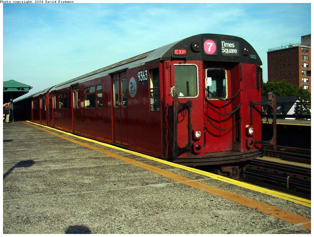 (163k, 1044x788)<br><b>Country:</b> United States<br><b>City:</b> New York<br><b>System:</b> New York City Transit<br><b>Line:</b> IRT Flushing Line<br><b>Location:</b> 69th Street/Fisk Avenue <br><b>Route:</b> 7<br><b>Car:</b> R-36 World's Fair (St. Louis, 1963-64) 9363 <br><b>Photo by:</b> David Pirmann<br><b>Date:</b> 7/16/2001<br><b>Viewed (this week/total):</b> 1 / 2783
