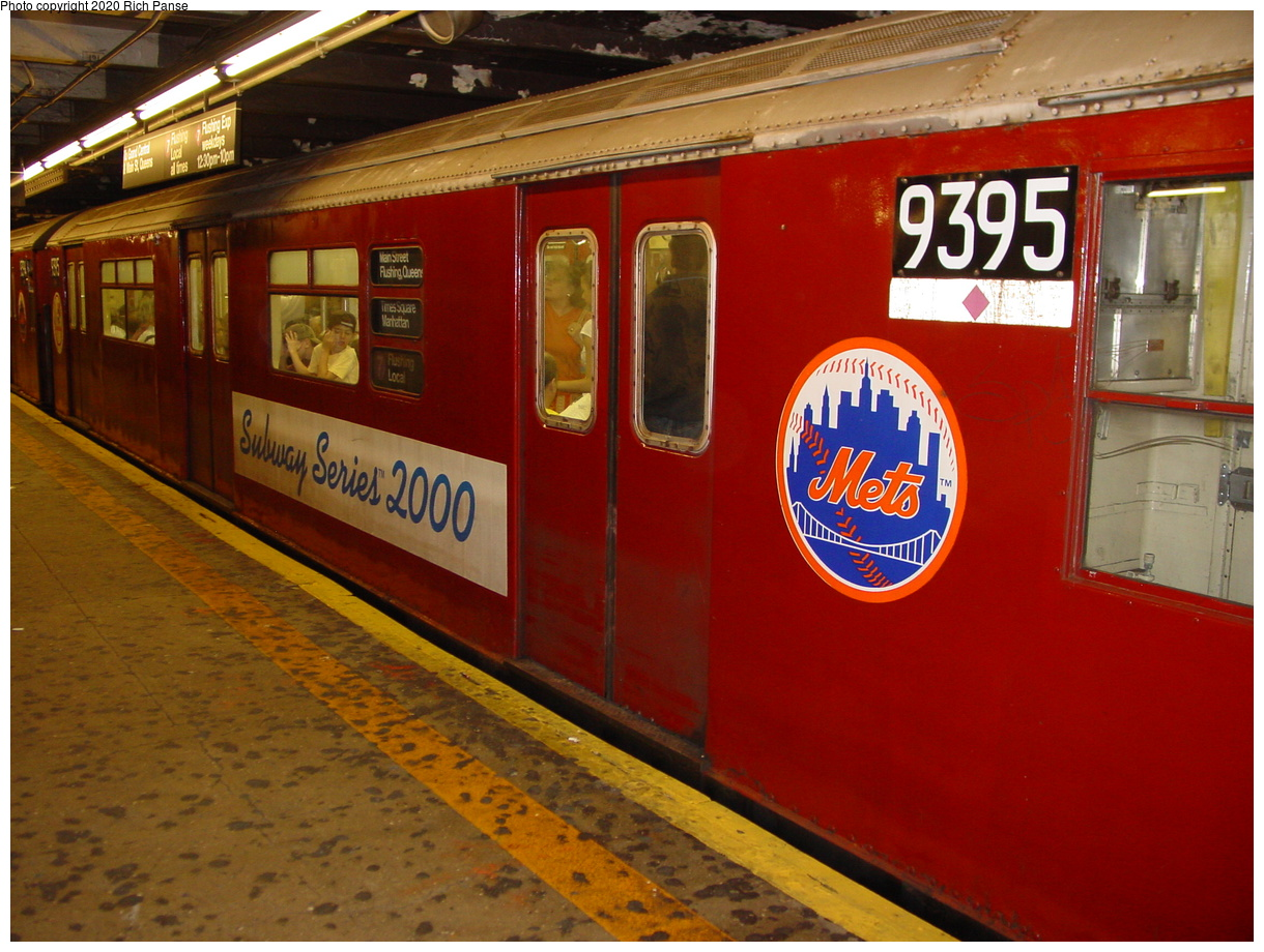 (80k, 820x620)<br><b>Country:</b> United States<br><b>City:</b> New York<br><b>System:</b> New York City Transit<br><b>Line:</b> IRT Flushing Line<br><b>Location:</b> Times Square <br><b>Car:</b> R-36 World's Fair (St. Louis, 1963-64) 9395 <br><b>Photo by:</b> Richard Panse<br><b>Date:</b> 7/27/2002<br><b>Viewed (this week/total):</b> 0 / 4946