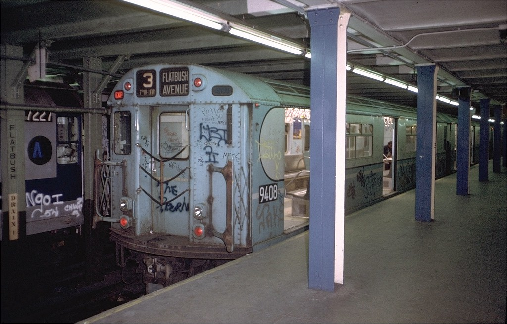 (191k, 1024x654)<br><b>Country:</b> United States<br><b>City:</b> New York<br><b>System:</b> New York City Transit<br><b>Line:</b> IRT Brooklyn Line<br><b>Location:</b> Flatbush Avenue <br><b>Route:</b> 3<br><b>Car:</b> R-36 World's Fair (St. Louis, 1963-64) 9408 <br><b>Photo by:</b> Doug Grotjahn<br><b>Collection of:</b> Joe Testagrose<br><b>Date:</b> 11/25/1972<br><b>Viewed (this week/total):</b> 0 / 6152