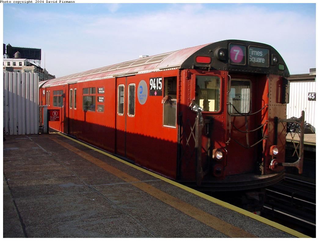(121k, 1044x788)<br><b>Country:</b> United States<br><b>City:</b> New York<br><b>System:</b> New York City Transit<br><b>Line:</b> IRT Flushing Line<br><b>Location:</b> Court House Square/45th Road <br><b>Route:</b> 7<br><b>Car:</b> R-36 World's Fair (St. Louis, 1963-64) 9415 <br><b>Photo by:</b> David Pirmann<br><b>Date:</b> 7/16/2001<br><b>Viewed (this week/total):</b> 3 / 3239