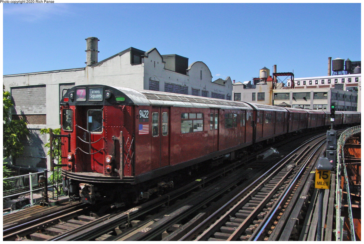 (70k, 820x620)<br><b>Country:</b> United States<br><b>City:</b> New York<br><b>System:</b> New York City Transit<br><b>Line:</b> IRT Flushing Line<br><b>Location:</b> Court House Square/45th Road <br><b>Route:</b> 7<br><b>Car:</b> R-36 World's Fair (St. Louis, 1963-64) 9422 <br><b>Photo by:</b> Richard Panse<br><b>Date:</b> 7/11/2002<br><b>Viewed (this week/total):</b> 3 / 2716