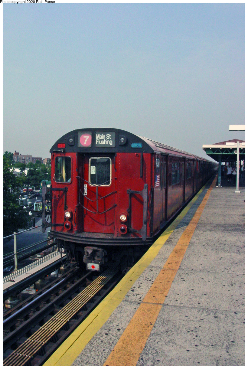 (54k, 620x820)<br><b>Country:</b> United States<br><b>City:</b> New York<br><b>System:</b> New York City Transit<br><b>Line:</b> IRT Flushing Line<br><b>Location:</b> Junction Boulevard <br><b>Route:</b> 7<br><b>Car:</b> R-36 World's Fair (St. Louis, 1963-64) 9458 <br><b>Photo by:</b> Richard Panse<br><b>Date:</b> 2002<br><b>Viewed (this week/total):</b> 2 / 2405