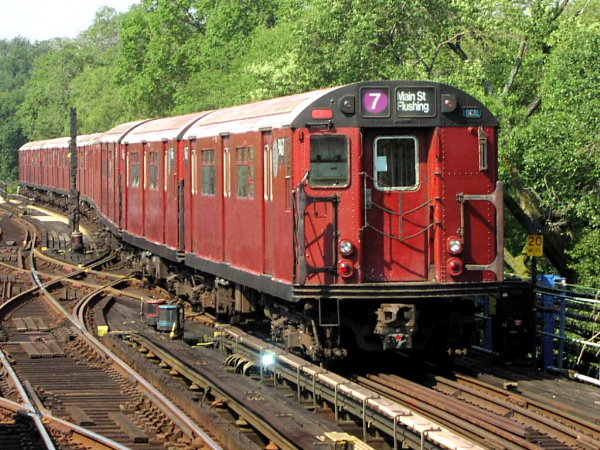 (114k, 600x450)<br><b>Country:</b> United States<br><b>City:</b> New York<br><b>System:</b> New York City Transit<br><b>Line:</b> IRT Flushing Line<br><b>Location:</b> Willets Point/Mets (fmr. Shea Stadium) <br><b>Route:</b> 7<br><b>Car:</b> R-36 World's Fair (St. Louis, 1963-64) 9467 <br><b>Photo by:</b> Trevor Logan<br><b>Date:</b> 8/24/2001<br><b>Viewed (this week/total):</b> 3 / 3804