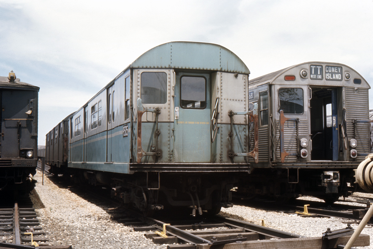 (387k, 1044x714)<br><b>Country:</b> United States<br><b>City:</b> New York<br><b>System:</b> New York City Transit<br><b>Location:</b> Coney Island Yard<br><b>Car:</b> R-36 World's Fair (St. Louis, 1963-64) 9505 <br><b>Collection of:</b> David Pirmann<br><b>Date:</b> 6/25/1966<br><b>Viewed (this week/total):</b> 1 / 3206