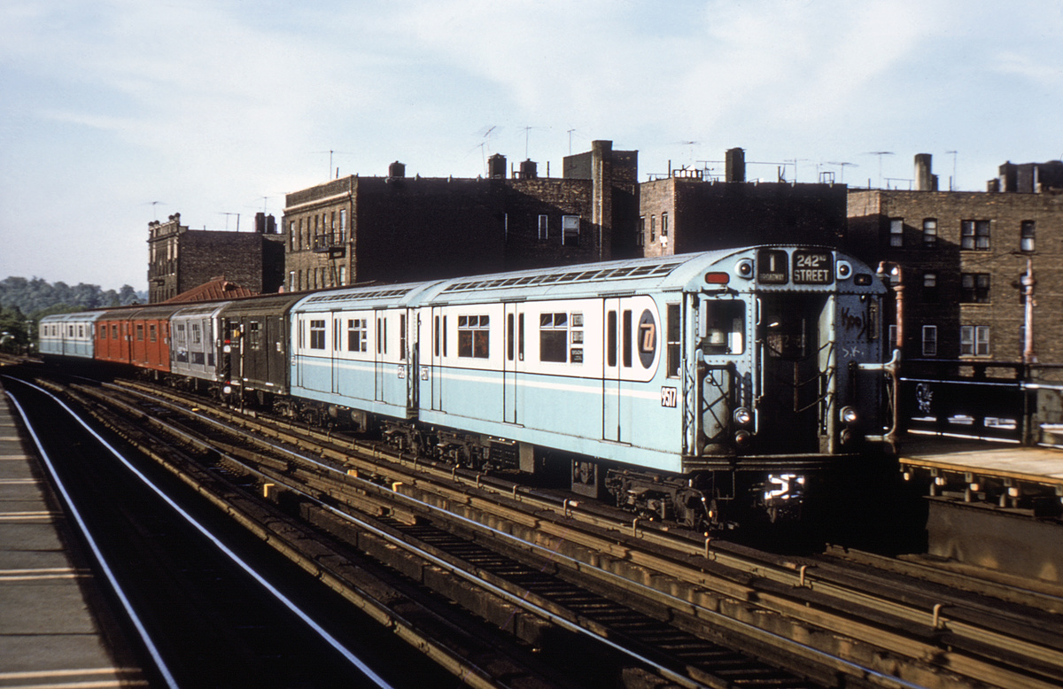 (372k, 1024x675)<br><b>Country:</b> United States<br><b>City:</b> New York<br><b>System:</b> New York City Transit<br><b>Line:</b> IRT West Side Line<br><b>Location:</b> 238th Street <br><b>Route:</b> 1<br><b>Car:</b> R-36 World's Fair (St. Louis, 1963-64) 9517 <br><b>Photo by:</b> Joe Testagrose<br><b>Date:</b> 5/21/1972<br><b>Viewed (this week/total):</b> 0 / 3519