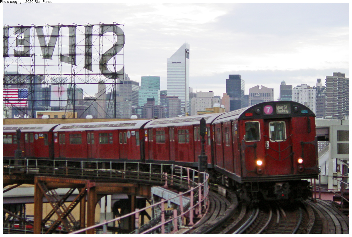 (73k, 820x620)<br><b>Country:</b> United States<br><b>City:</b> New York<br><b>System:</b> New York City Transit<br><b>Line:</b> IRT Flushing Line<br><b>Location:</b> Queensborough Plaza <br><b>Route:</b> 7<br><b>Car:</b> R-36 World's Fair (St. Louis, 1963-64) 9566 <br><b>Photo by:</b> Richard Panse<br><b>Date:</b> 1/23/2002<br><b>Viewed (this week/total):</b> 5 / 4423