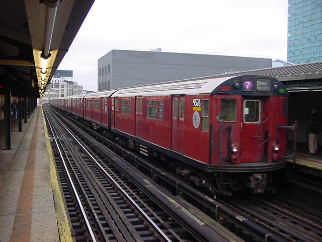 (60k, 640x480)<br><b>Country:</b> United States<br><b>City:</b> New York<br><b>System:</b> New York City Transit<br><b>Line:</b> IRT Flushing Line<br><b>Location:</b> Court House Square/45th Road <br><b>Route:</b> 7<br><b>Car:</b> R-36 World's Fair (St. Louis, 1963-64) 9576 <br><b>Photo by:</b> Salaam Allah<br><b>Date:</b> 9/27/2002<br><b>Viewed (this week/total):</b> 1 / 3981