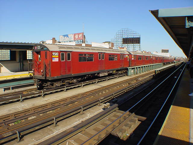 (60k, 640x480)<br><b>Country:</b> United States<br><b>City:</b> New York<br><b>System:</b> New York City Transit<br><b>Line:</b> IRT Flushing Line<br><b>Location:</b> 33rd Street/Rawson Street <br><b>Route:</b> 7<br><b>Car:</b> R-36 World's Fair (St. Louis, 1963-64) 9580 <br><b>Photo by:</b> Salaam Allah<br><b>Date:</b> 9/17/2002<br><b>Viewed (this week/total):</b> 1 / 2119