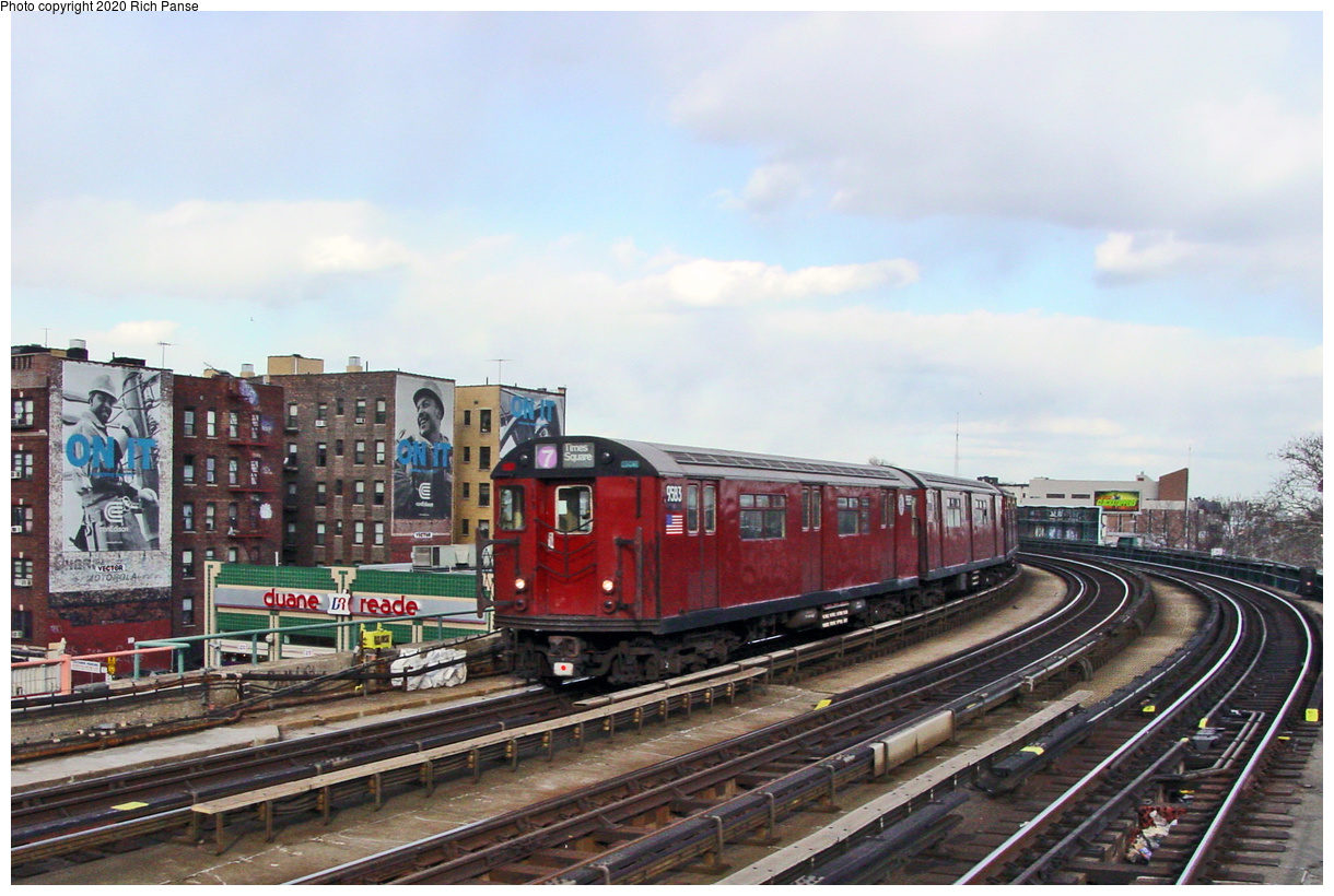 (69k, 820x620)<br><b>Country:</b> United States<br><b>City:</b> New York<br><b>System:</b> New York City Transit<br><b>Line:</b> IRT Flushing Line<br><b>Location:</b> 46th Street/Bliss Street <br><b>Route:</b> 7<br><b>Car:</b> R-36 World's Fair (St. Louis, 1963-64) 9583 <br><b>Photo by:</b> Richard Panse<br><b>Date:</b> 3/22/2002<br><b>Viewed (this week/total):</b> 1 / 3569
