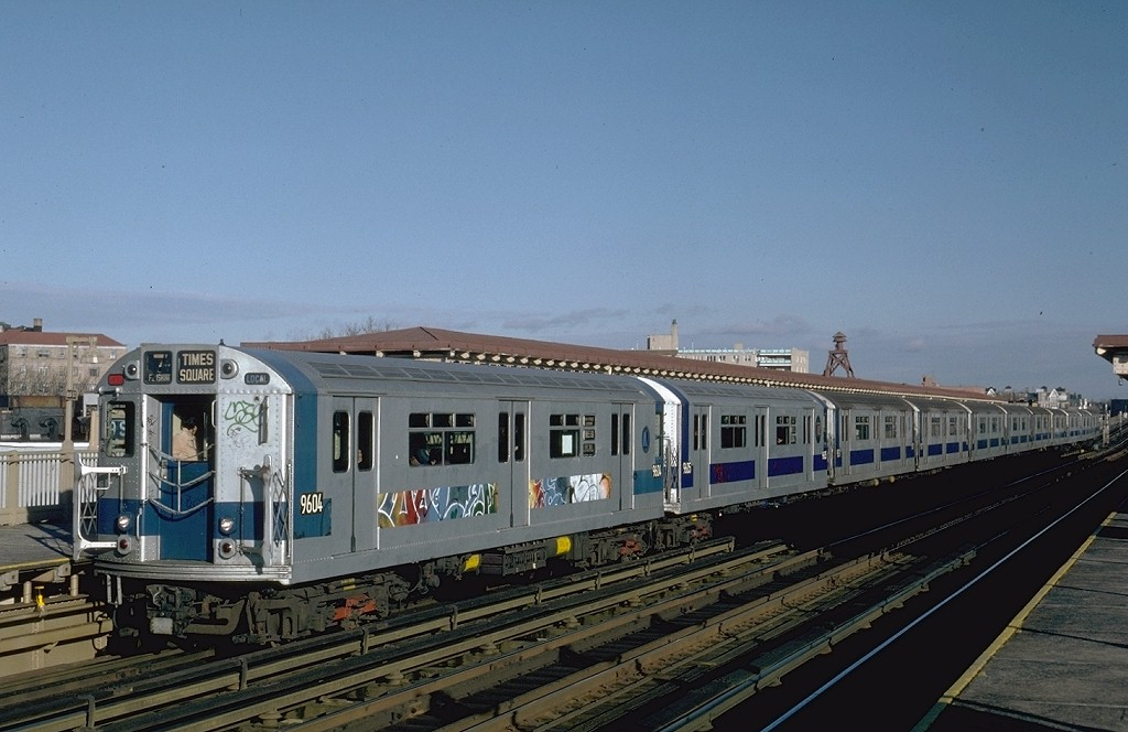 (166k, 1024x664)<br><b>Country:</b> United States<br><b>City:</b> New York<br><b>System:</b> New York City Transit<br><b>Line:</b> IRT Flushing Line<br><b>Location:</b> 69th Street/Fisk Avenue <br><b>Route:</b> 7<br><b>Car:</b> R-36 World's Fair (St. Louis, 1963-64) 9604 <br><b>Photo by:</b> Steve Zabel<br><b>Collection of:</b> Joe Testagrose<br><b>Viewed (this week/total):</b> 1 / 3565