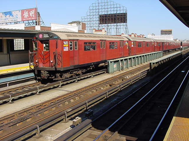 (60k, 640x480)<br><b>Country:</b> United States<br><b>City:</b> New York<br><b>System:</b> New York City Transit<br><b>Line:</b> IRT Flushing Line<br><b>Location:</b> 33rd Street/Rawson Street <br><b>Route:</b> 7<br><b>Car:</b> R-36 World's Fair (St. Louis, 1963-64) 9605 <br><b>Photo by:</b> Salaam Allah<br><b>Date:</b> 9/17/2002<br><b>Viewed (this week/total):</b> 0 / 3109
