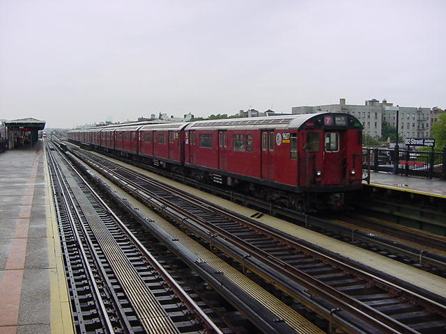 (61k, 640x480)<br><b>Country:</b> United States<br><b>City:</b> New York<br><b>System:</b> New York City Transit<br><b>Line:</b> IRT Flushing Line<br><b>Location:</b> 82nd Street/Jackson Heights <br><b>Route:</b> 7<br><b>Car:</b> R-36 World's Fair (St. Louis, 1963-64) 9607 <br><b>Photo by:</b> Salaam Allah<br><b>Date:</b> 9/26/2002<br><b>Viewed (this week/total):</b> 0 / 1944