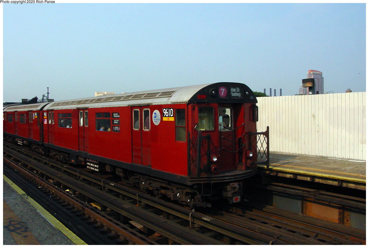 (47k, 820x620)<br><b>Country:</b> United States<br><b>City:</b> New York<br><b>System:</b> New York City Transit<br><b>Line:</b> IRT Flushing Line<br><b>Location:</b> Court House Square/45th Road <br><b>Route:</b> 7<br><b>Car:</b> R-36 World's Fair (St. Louis, 1963-64) 9610 <br><b>Photo by:</b> Richard Panse<br><b>Date:</b> 7/18/2002<br><b>Viewed (this week/total):</b> 2 / 1729