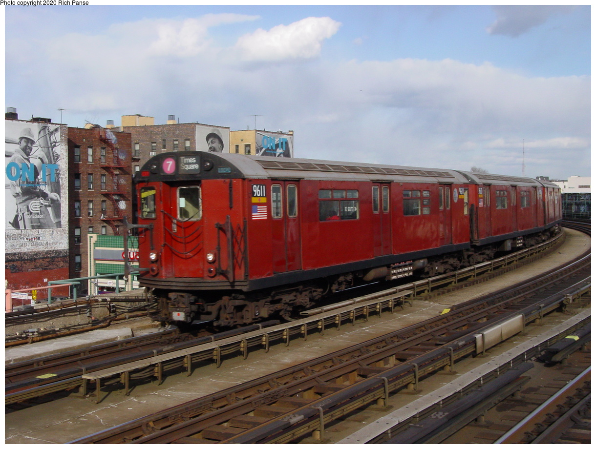 (79k, 820x620)<br><b>Country:</b> United States<br><b>City:</b> New York<br><b>System:</b> New York City Transit<br><b>Line:</b> IRT Flushing Line<br><b>Location:</b> 46th Street/Bliss Street <br><b>Route:</b> 7<br><b>Car:</b> R-36 World's Fair (St. Louis, 1963-64) 9611 <br><b>Photo by:</b> Richard Panse<br><b>Date:</b> 3/22/2002<br><b>Viewed (this week/total):</b> 0 / 2994