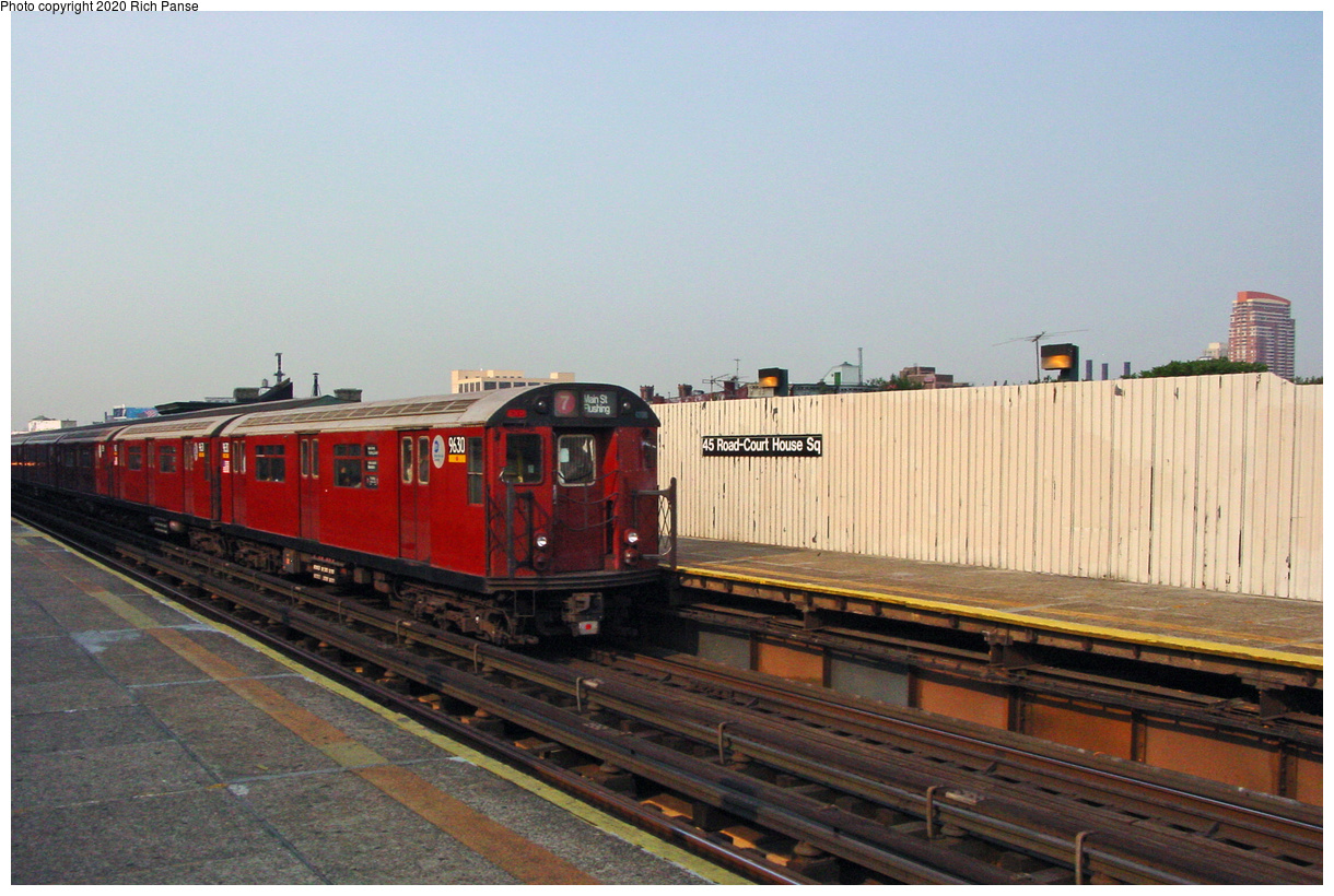 (49k, 820x620)<br><b>Country:</b> United States<br><b>City:</b> New York<br><b>System:</b> New York City Transit<br><b>Line:</b> IRT Flushing Line<br><b>Location:</b> Court House Square/45th Road <br><b>Route:</b> 7<br><b>Car:</b> R-36 World's Fair (St. Louis, 1963-64) 9630 <br><b>Photo by:</b> Richard Panse<br><b>Date:</b> 7/18/2002<br><b>Viewed (this week/total):</b> 3 / 1934