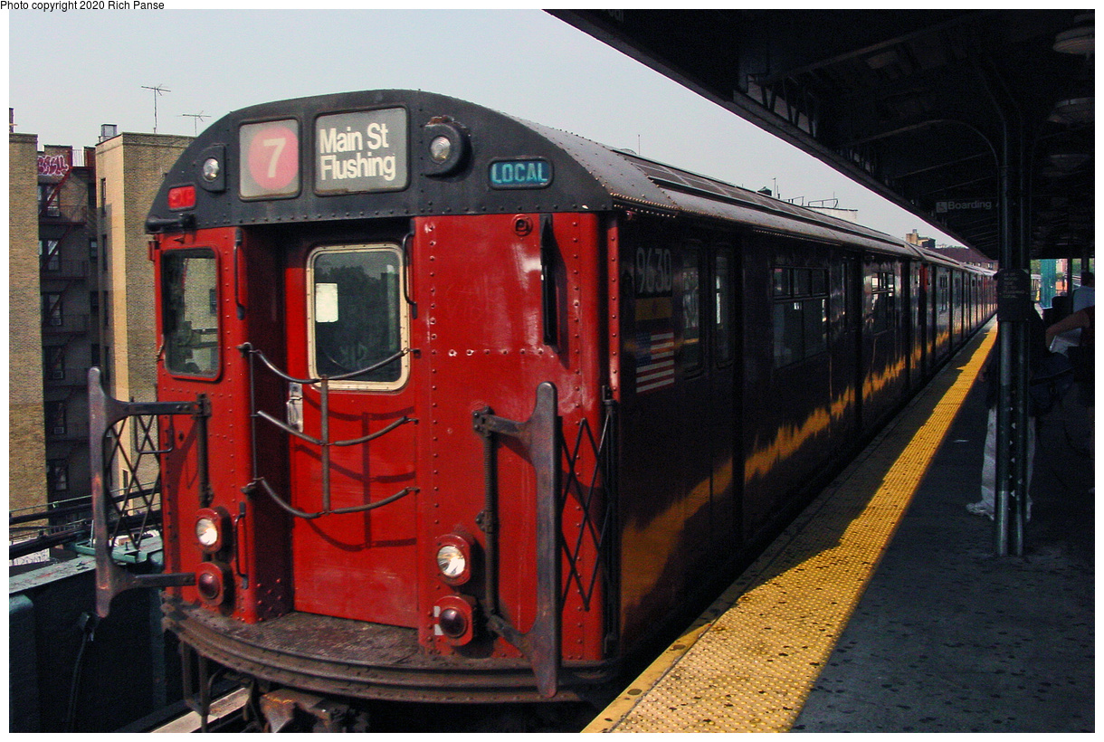 (54k, 820x620)<br><b>Country:</b> United States<br><b>City:</b> New York<br><b>System:</b> New York City Transit<br><b>Line:</b> IRT Flushing Line<br><b>Location:</b> 61st Street/Woodside <br><b>Route:</b> 7<br><b>Car:</b> R-36 World's Fair (St. Louis, 1963-64) 9630 <br><b>Photo by:</b> Richard Panse<br><b>Date:</b> 7/18/2002<br><b>Viewed (this week/total):</b> 5 / 2533