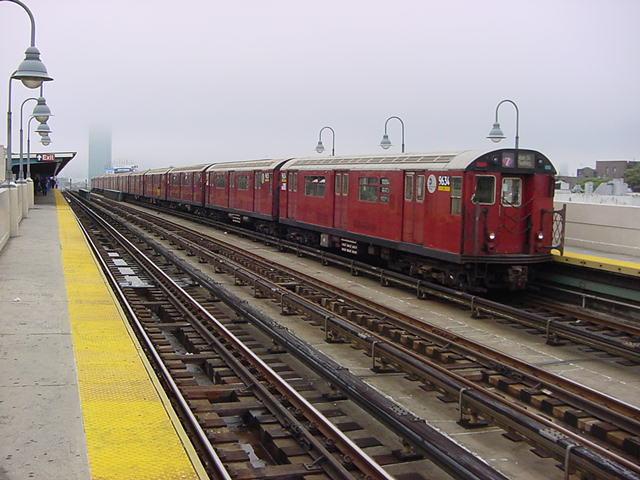 (61k, 640x480)<br><b>Country:</b> United States<br><b>City:</b> New York<br><b>System:</b> New York City Transit<br><b>Line:</b> IRT Flushing Line<br><b>Location:</b> 33rd Street/Rawson Street <br><b>Route:</b> 7<br><b>Car:</b> R-36 World's Fair (St. Louis, 1963-64) 9634 <br><b>Photo by:</b> Salaam Allah<br><b>Date:</b> 9/27/2002<br><b>Viewed (this week/total):</b> 2 / 2097