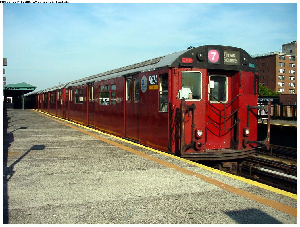 (152k, 1044x788)<br><b>Country:</b> United States<br><b>City:</b> New York<br><b>System:</b> New York City Transit<br><b>Line:</b> IRT Flushing Line<br><b>Location:</b> 69th Street/Fisk Avenue <br><b>Route:</b> 7<br><b>Car:</b> R-36 World's Fair (St. Louis, 1963-64) 9634 <br><b>Photo by:</b> David Pirmann<br><b>Date:</b> 7/16/2001<br><b>Viewed (this week/total):</b> 0 / 3930