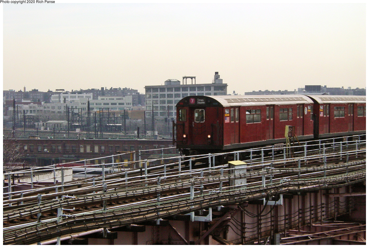 (69k, 820x620)<br><b>Country:</b> United States<br><b>City:</b> New York<br><b>System:</b> New York City Transit<br><b>Line:</b> IRT Flushing Line<br><b>Location:</b> Queensborough Plaza <br><b>Route:</b> 7<br><b>Car:</b> R-36 World's Fair (St. Louis, 1963-64) 9641 <br><b>Photo by:</b> Richard Panse<br><b>Date:</b> 3/7/2002<br><b>Viewed (this week/total):</b> 3 / 2898