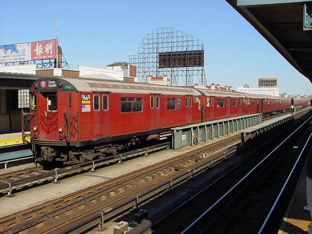 (61k, 640x480)<br><b>Country:</b> United States<br><b>City:</b> New York<br><b>System:</b> New York City Transit<br><b>Line:</b> IRT Flushing Line<br><b>Location:</b> 33rd Street/Rawson Street <br><b>Route:</b> 7<br><b>Car:</b> R-36 World's Fair (St. Louis, 1963-64) 9649 <br><b>Photo by:</b> Salaam Allah<br><b>Date:</b> 9/17/2002<br><b>Viewed (this week/total):</b> 2 / 1939