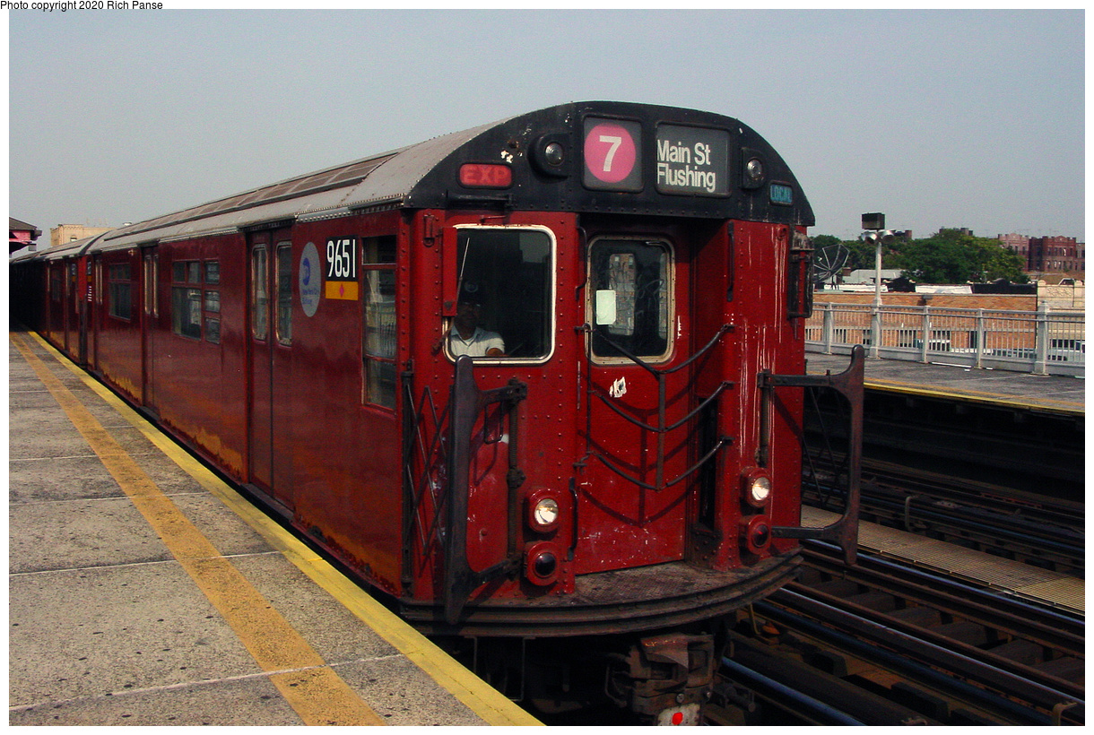 (58k, 820x620)<br><b>Country:</b> United States<br><b>City:</b> New York<br><b>System:</b> New York City Transit<br><b>Line:</b> IRT Flushing Line<br><b>Location:</b> 90th Street/Elmhurst Avenue <br><b>Route:</b> 7<br><b>Car:</b> R-36 World's Fair (St. Louis, 1963-64) 9651 <br><b>Photo by:</b> Richard Panse<br><b>Date:</b> 7/18/2002<br><b>Viewed (this week/total):</b> 1 / 3445