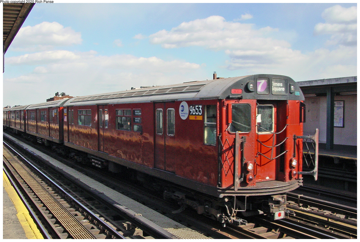 (72k, 820x620)<br><b>Country:</b> United States<br><b>City:</b> New York<br><b>System:</b> New York City Transit<br><b>Line:</b> IRT Flushing Line<br><b>Location:</b> 74th Street/Broadway <br><b>Car:</b> R-36 World's Fair (St. Louis, 1963-64) 9653 <br><b>Photo by:</b> Richard Panse<br><b>Date:</b> 3/22/2002<br><b>Viewed (this week/total):</b> 3 / 2044