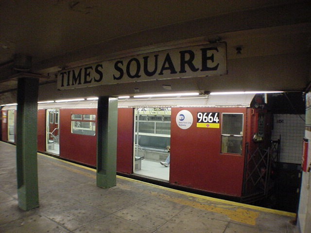 (60k, 640x480)<br><b>Country:</b> United States<br><b>City:</b> New York<br><b>System:</b> New York City Transit<br><b>Line:</b> IRT Flushing Line<br><b>Location:</b> Times Square <br><b>Car:</b> R-36 World's Fair (St. Louis, 1963-64) 9664 <br><b>Photo by:</b> Salaam Allah<br><b>Date:</b> 9/17/2002<br><b>Viewed (this week/total):</b> 8 / 9731