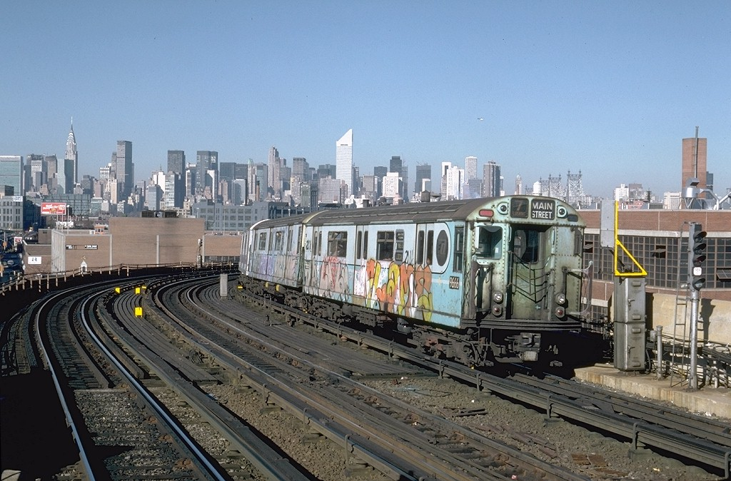 (223k, 1024x674)<br><b>Country:</b> United States<br><b>City:</b> New York<br><b>System:</b> New York City Transit<br><b>Line:</b> IRT Flushing Line<br><b>Location:</b> 33rd Street/Rawson Street <br><b>Route:</b> 7<br><b>Car:</b> R-36 World's Fair (St. Louis, 1963-64) 9666 <br><b>Photo by:</b> Steve Zabel<br><b>Collection of:</b> Joe Testagrose<br><b>Date:</b> 11/3/1981<br><b>Viewed (this week/total):</b> 1 / 5110