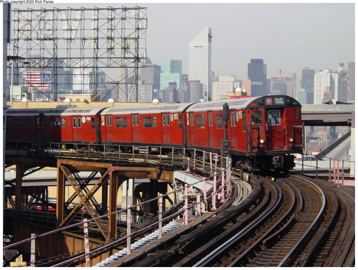 (107k, 820x620)<br><b>Country:</b> United States<br><b>City:</b> New York<br><b>System:</b> New York City Transit<br><b>Line:</b> IRT Flushing Line<br><b>Location:</b> Queensborough Plaza <br><b>Route:</b> 7<br><b>Car:</b> R-36 World's Fair (St. Louis, 1963-64) 9672 <br><b>Photo by:</b> Richard Panse<br><b>Date:</b> 3/7/2002<br><b>Viewed (this week/total):</b> 13 / 3278