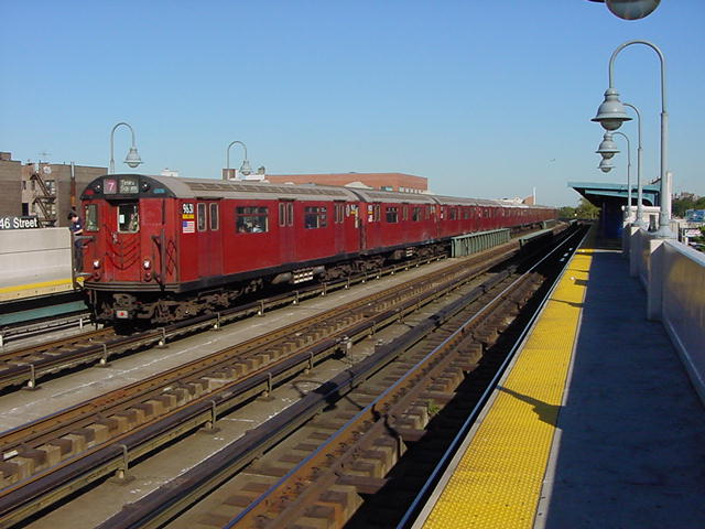 (59k, 640x480)<br><b>Country:</b> United States<br><b>City:</b> New York<br><b>System:</b> New York City Transit<br><b>Line:</b> IRT Flushing Line<br><b>Location:</b> 46th Street/Bliss Street <br><b>Route:</b> 7<br><b>Car:</b> R-36 World's Fair (St. Louis, 1963-64) 9681 <br><b>Photo by:</b> Salaam Allah<br><b>Date:</b> 9/17/2002<br><b>Viewed (this week/total):</b> 0 / 2928
