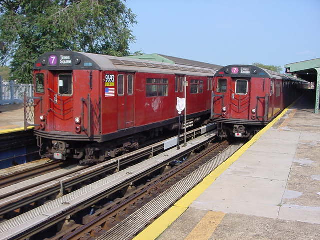 (59k, 640x480)<br><b>Country:</b> United States<br><b>City:</b> New York<br><b>System:</b> New York City Transit<br><b>Line:</b> IRT Flushing Line<br><b>Location:</b> Willets Point/Mets (fmr. Shea Stadium) <br><b>Route:</b> 7<br><b>Car:</b> R-36 World's Fair (St. Louis, 1963-64) 9693 <br><b>Photo by:</b> Salaam Allah<br><b>Date:</b> 9/21/2002<br><b>Viewed (this week/total):</b> 0 / 3093
