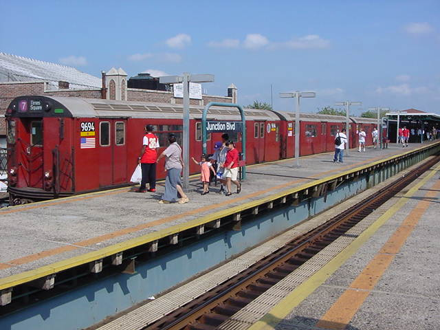 (59k, 640x480)<br><b>Country:</b> United States<br><b>City:</b> New York<br><b>System:</b> New York City Transit<br><b>Line:</b> IRT Flushing Line<br><b>Location:</b> Junction Boulevard <br><b>Route:</b> 7<br><b>Car:</b> R-36 World's Fair (St. Louis, 1963-64) 9694 <br><b>Photo by:</b> Salaam Allah<br><b>Date:</b> 9/21/2002<br><b>Viewed (this week/total):</b> 0 / 5838
