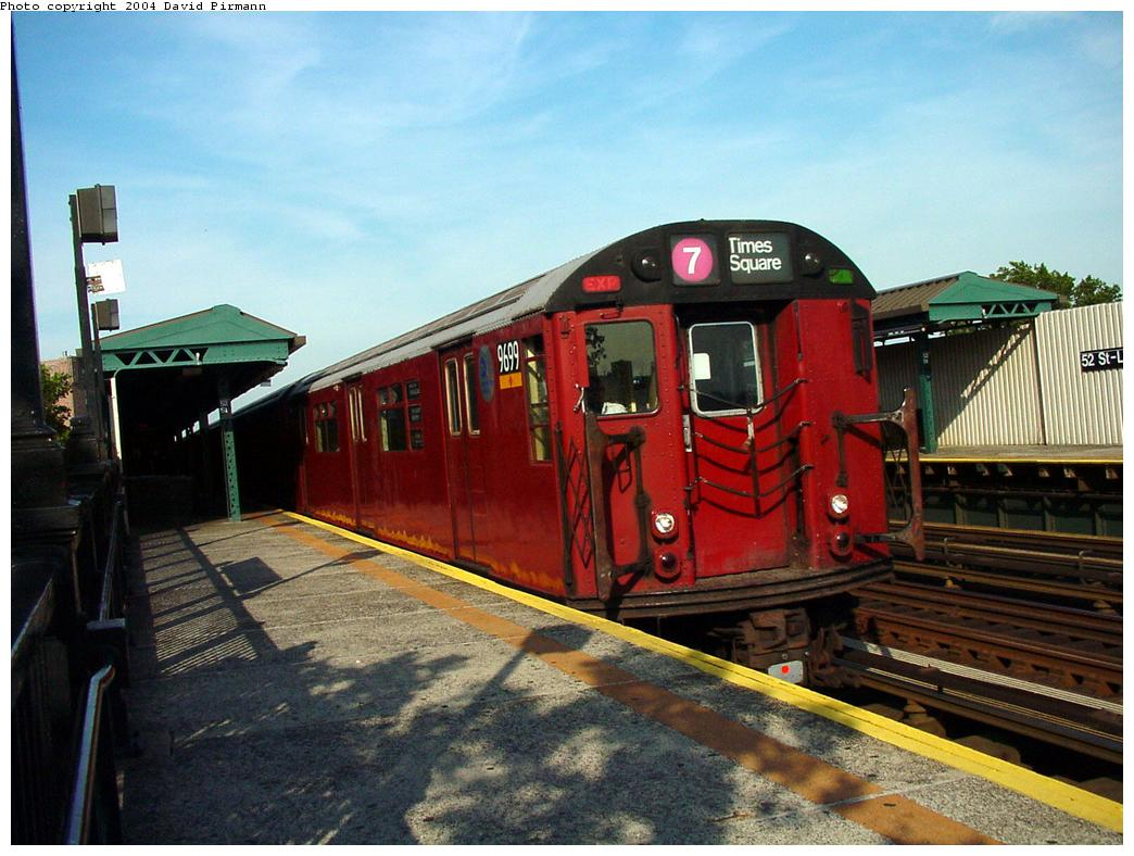 (133k, 1044x788)<br><b>Country:</b> United States<br><b>City:</b> New York<br><b>System:</b> New York City Transit<br><b>Line:</b> IRT Flushing Line<br><b>Location:</b> 52nd Street/Lincoln Avenue <br><b>Route:</b> 7<br><b>Car:</b> R-36 World's Fair (St. Louis, 1963-64) 9699 <br><b>Photo by:</b> David Pirmann<br><b>Date:</b> 7/16/2001<br><b>Viewed (this week/total):</b> 0 / 4457