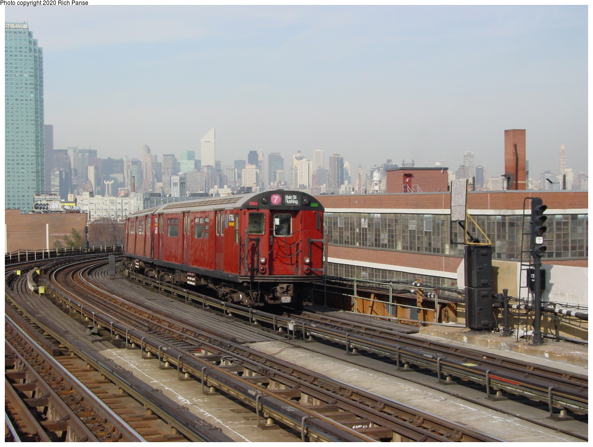(82k, 820x620)<br><b>Country:</b> United States<br><b>City:</b> New York<br><b>System:</b> New York City Transit<br><b>Line:</b> IRT Flushing Line<br><b>Location:</b> 33rd Street/Rawson Street <br><b>Route:</b> 7<br><b>Car:</b> R-36 World's Fair (St. Louis, 1963-64) 9704 <br><b>Photo by:</b> Richard Panse<br><b>Date:</b> 3/7/2002<br><b>Viewed (this week/total):</b> 2 / 2661