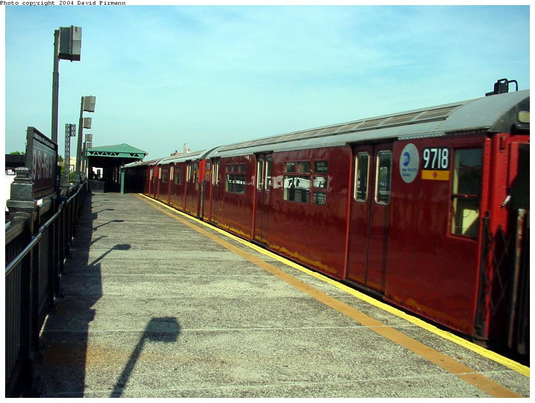 (135k, 1044x788)<br><b>Country:</b> United States<br><b>City:</b> New York<br><b>System:</b> New York City Transit<br><b>Line:</b> IRT Flushing Line<br><b>Location:</b> 69th Street/Fisk Avenue <br><b>Route:</b> 7<br><b>Car:</b> R-36 World's Fair (St. Louis, 1963-64) 9718 <br><b>Photo by:</b> David Pirmann<br><b>Date:</b> 7/16/2001<br><b>Viewed (this week/total):</b> 2 / 3024