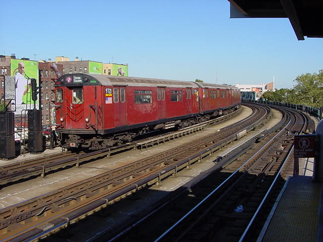 (60k, 640x480)<br><b>Country:</b> United States<br><b>City:</b> New York<br><b>System:</b> New York City Transit<br><b>Line:</b> IRT Flushing Line<br><b>Location:</b> 46th Street/Bliss Street <br><b>Car:</b> R-36 World's Fair (St. Louis, 1963-64) 9721 <br><b>Photo by:</b> Salaam Allah<br><b>Date:</b> 9/17/2002<br><b>Viewed (this week/total):</b> 6 / 3493