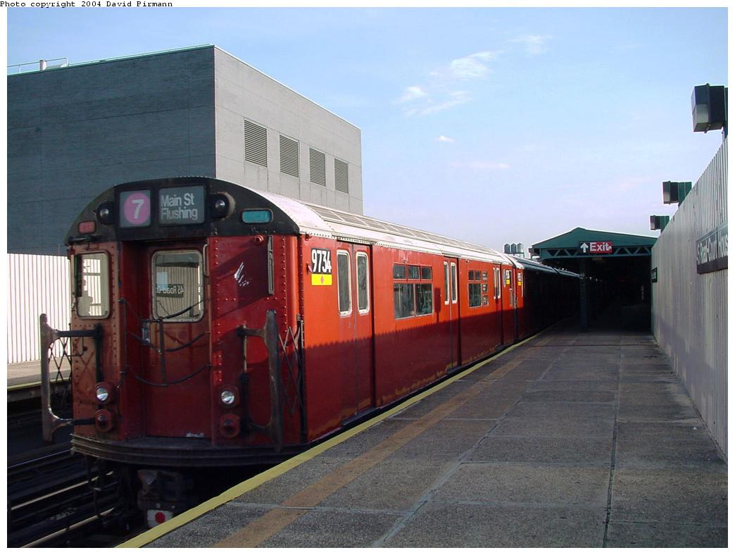 (108k, 1044x788)<br><b>Country:</b> United States<br><b>City:</b> New York<br><b>System:</b> New York City Transit<br><b>Line:</b> IRT Flushing Line<br><b>Location:</b> Court House Square/45th Road <br><b>Route:</b> 7<br><b>Car:</b> R-36 World's Fair (St. Louis, 1963-64) 9734 <br><b>Photo by:</b> David Pirmann<br><b>Date:</b> 7/16/2001<br><b>Viewed (this week/total):</b> 1 / 3230