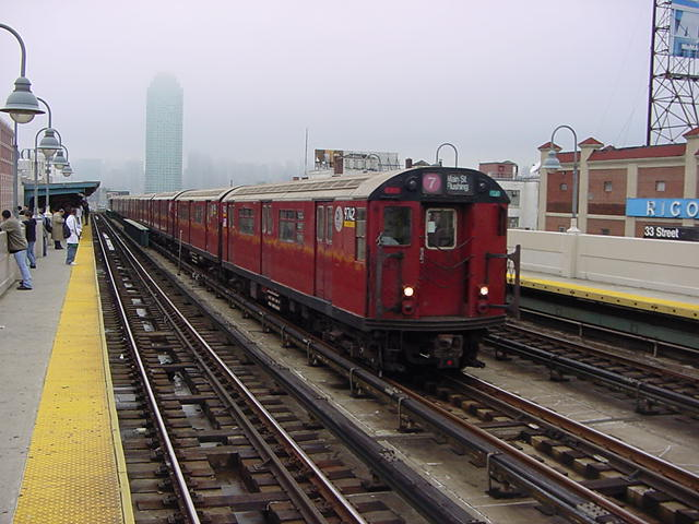(61k, 640x480)<br><b>Country:</b> United States<br><b>City:</b> New York<br><b>System:</b> New York City Transit<br><b>Line:</b> IRT Flushing Line<br><b>Location:</b> 33rd Street/Rawson Street <br><b>Route:</b> 7<br><b>Car:</b> R-36 World's Fair (St. Louis, 1963-64) 9742 <br><b>Photo by:</b> Salaam Allah<br><b>Date:</b> 9/27/2002<br><b>Viewed (this week/total):</b> 0 / 3753