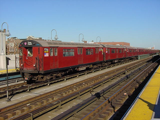 (60k, 640x480)<br><b>Country:</b> United States<br><b>City:</b> New York<br><b>System:</b> New York City Transit<br><b>Line:</b> IRT Flushing Line<br><b>Location:</b> 46th Street/Bliss Street <br><b>Route:</b> 7<br><b>Car:</b> R-36 World's Fair (St. Louis, 1963-64) 9746 <br><b>Photo by:</b> Salaam Allah<br><b>Date:</b> 9/17/2002<br><b>Viewed (this week/total):</b> 0 / 2656