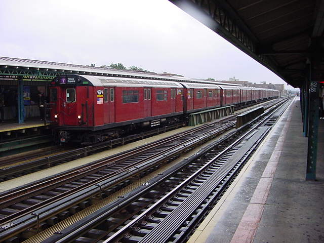 (60k, 640x480)<br><b>Country:</b> United States<br><b>City:</b> New York<br><b>System:</b> New York City Transit<br><b>Line:</b> IRT Flushing Line<br><b>Location:</b> 82nd Street/Jackson Heights <br><b>Route:</b> 7<br><b>Car:</b> R-36 World's Fair (St. Louis, 1963-64) 9749 <br><b>Photo by:</b> Salaam Allah<br><b>Date:</b> 9/26/2002<br><b>Viewed (this week/total):</b> 0 / 2012