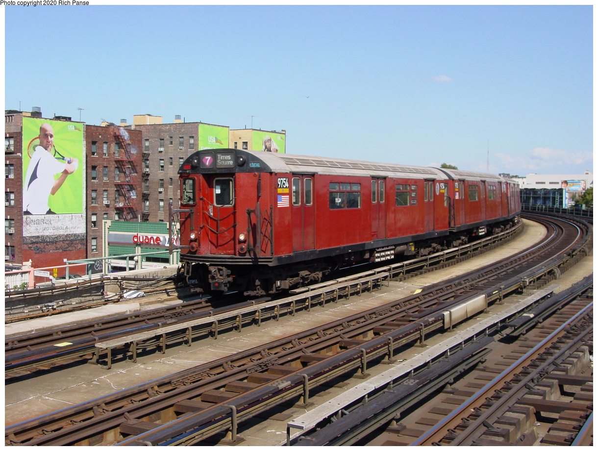 (94k, 820x620)<br><b>Country:</b> United States<br><b>City:</b> New York<br><b>System:</b> New York City Transit<br><b>Line:</b> IRT Flushing Line<br><b>Location:</b> 46th Street/Bliss Street <br><b>Route:</b> 7<br><b>Car:</b> R-36 World's Fair (St. Louis, 1963-64) 9754 <br><b>Photo by:</b> Richard Panse<br><b>Date:</b> 8/21/2002<br><b>Viewed (this week/total):</b> 0 / 3484