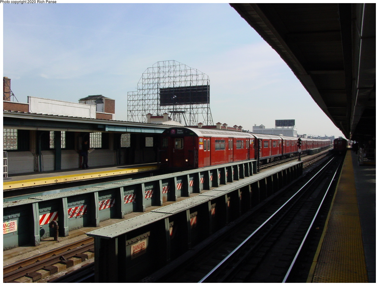 (70k, 820x620)<br><b>Country:</b> United States<br><b>City:</b> New York<br><b>System:</b> New York City Transit<br><b>Line:</b> IRT Flushing Line<br><b>Location:</b> 33rd Street/Rawson Street <br><b>Route:</b> 7<br><b>Car:</b> R-36 World's Fair (St. Louis, 1963-64) 9767 <br><b>Photo by:</b> Richard Panse<br><b>Date:</b> 3/7/2002<br><b>Viewed (this week/total):</b> 1 / 3753