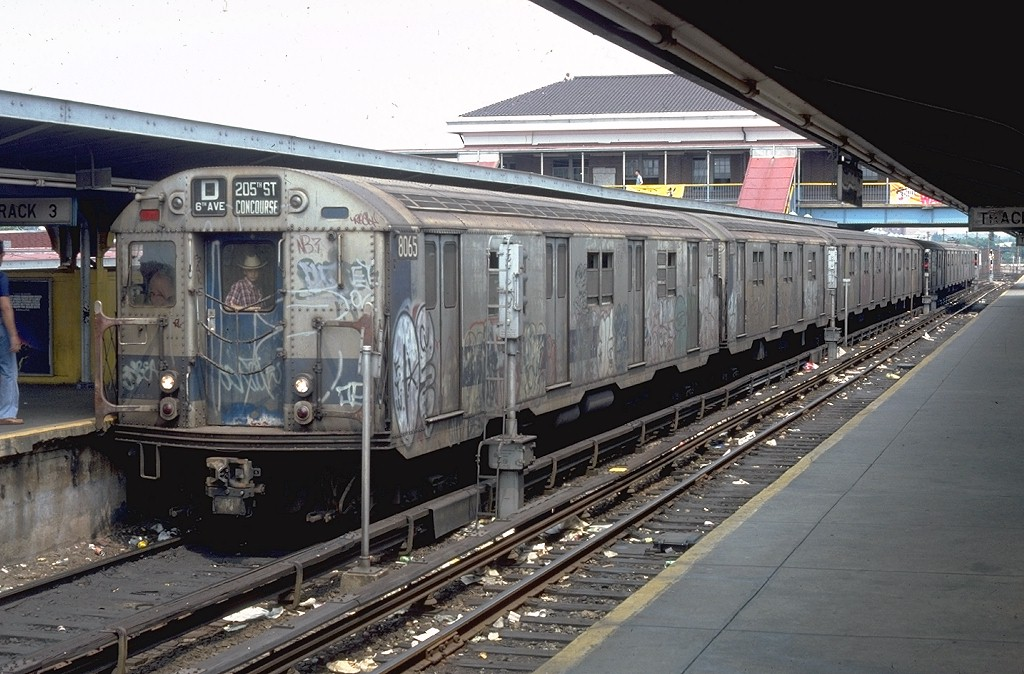 (207k, 1024x674)<br><b>Country:</b> United States<br><b>City:</b> New York<br><b>System:</b> New York City Transit<br><b>Location:</b> Coney Island/Stillwell Avenue<br><b>Route:</b> D<br><b>Car:</b> R-27 (St. Louis, 1960)  8065 <br><b>Photo by:</b> Doug Grotjahn<br><b>Collection of:</b> Joe Testagrose<br><b>Date:</b> 6/16/1979<br><b>Viewed (this week/total):</b> 5 / 4658