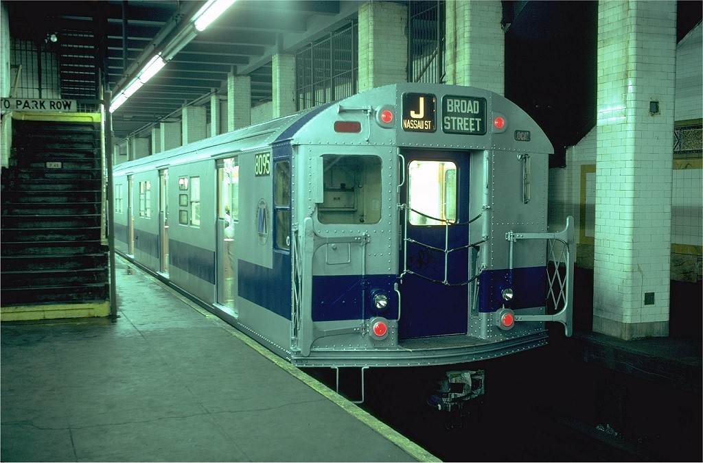 (198k, 1024x675)<br><b>Country:</b> United States<br><b>City:</b> New York<br><b>System:</b> New York City Transit<br><b>Line:</b> BMT Nassau Street/Jamaica Line<br><b>Location:</b> Chambers Street <br><b>Route:</b> J<br><b>Car:</b> R-27 (St. Louis, 1960)  8095 <br><b>Photo by:</b> Doug Grotjahn<br><b>Collection of:</b> Joe Testagrose<br><b>Date:</b> 11/23/1979<br><b>Viewed (this week/total):</b> 0 / 8867
