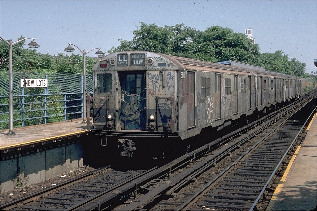 (286k, 1024x682)<br><b>Country:</b> United States<br><b>City:</b> New York<br><b>System:</b> New York City Transit<br><b>Line:</b> BMT Canarsie Line<br><b>Location:</b> New Lots Avenue <br><b>Route:</b> LL<br><b>Car:</b> R-27 (St. Louis, 1960)  8113 <br><b>Photo by:</b> Doug Grotjahn<br><b>Collection of:</b> Joe Testagrose<br><b>Date:</b> 7/8/1979<br><b>Viewed (this week/total):</b> 0 / 5481