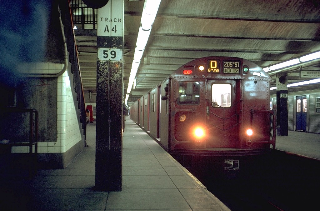 (204k, 1024x675)<br><b>Country:</b> United States<br><b>City:</b> New York<br><b>System:</b> New York City Transit<br><b>Line:</b> IND 8th Avenue Line<br><b>Location:</b> 59th Street/Columbus Circle <br><b>Route:</b> D<br><b>Car:</b> R-27 (St. Louis, 1960)  8136 <br><b>Photo by:</b> Joe Testagrose<br><b>Date:</b> 5/11/1969<br><b>Viewed (this week/total):</b> 3 / 5344