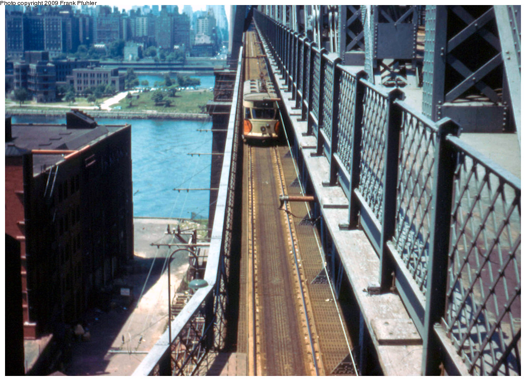 (300k, 1044x756)<br><b>Country:</b> United States<br><b>City:</b> New York<br><b>System:</b> Queensborough Bridge Railway<br><b>Photo by:</b> Frank Pfuhler<br><b>Date:</b> 7/3/1955<br><b>Notes:</b> Queens bound car on bridge.<br><b>Viewed (this week/total):</b> 6 / 4683