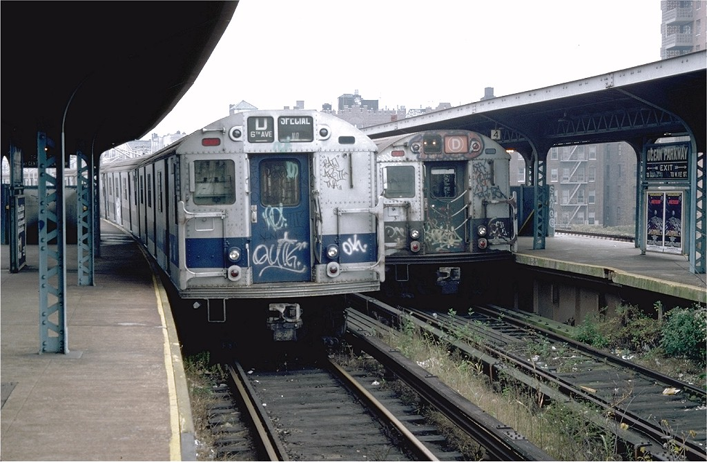 (202k, 1024x670)<br><b>Country:</b> United States<br><b>City:</b> New York<br><b>System:</b> New York City Transit<br><b>Line:</b> BMT Brighton Line<br><b>Location:</b> Ocean Parkway <br><b>Route:</b> D<br><b>Car:</b> R-27 (St. Louis, 1960)  8160 <br><b>Photo by:</b> Doug Grotjahn<br><b>Collection of:</b> Joe Testagrose<br><b>Date:</b> 11/22/1979<br><b>Viewed (this week/total):</b> 1 / 5695