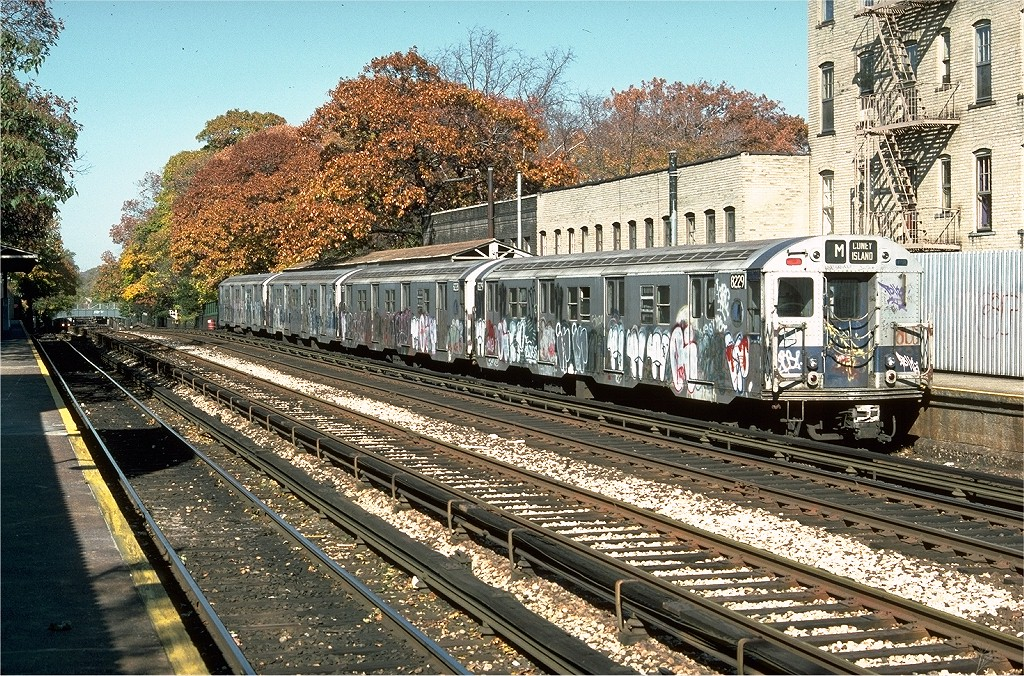 (364k, 1024x676)<br><b>Country:</b> United States<br><b>City:</b> New York<br><b>System:</b> New York City Transit<br><b>Line:</b> BMT Brighton Line<br><b>Location:</b> Avenue H <br><b>Route:</b> M<br><b>Car:</b> R-27 (St. Louis, 1960)  8229 <br><b>Photo by:</b> Doug Grotjahn<br><b>Collection of:</b> Joe Testagrose<br><b>Date:</b> 11/2/1976<br><b>Viewed (this week/total):</b> 0 / 3681